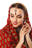 Beautiful Woman in Indian Traditional Clothes And Accessories Royalty Free Stock Image