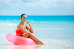 Beautiful woman with inflatable life buoy Royalty Free Stock Photography