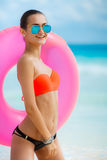 Beautiful woman with inflatable life buoy Royalty Free Stock Images