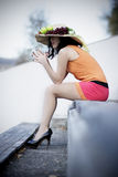 Beautiful woman with interesting hat Royalty Free Stock Photography