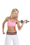 Beautiful woman with iron dumbbell Stock Photo