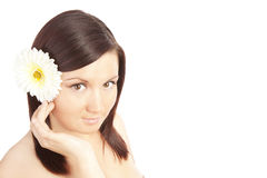 Beautiful woman isolated over white Royalty Free Stock Images
