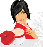 Beautiful woman and jar with moisturizer Stock Images