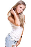 Beautiful woman in a jeans with dog tag Royalty Free Stock Image