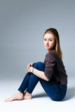 Beautiful woman in jeans Royalty Free Stock Image