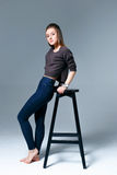 Beautiful woman in jeans Stock Photography