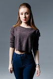 Beautiful woman in jeans Royalty Free Stock Photos
