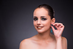 The beautiful woman with jewellery in beauty concept Royalty Free Stock Image