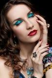 Beautiful woman in jewelry Stock Photo