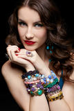 Beautiful woman in jewelry Royalty Free Stock Photography