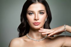 Beautiful Woman with Jewelry Diamond Necklace stock image