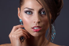 Beautiful woman with jewelry Royalty Free Stock Photos