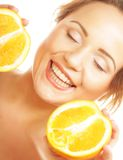 Beautiful woman with juicy orange Royalty Free Stock Photo