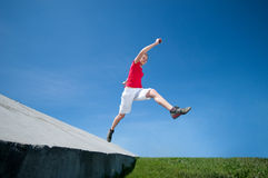Beautiful woman jump into sky Royalty Free Stock Photo
