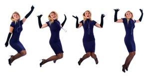Beautiful woman jumping Stock Photo