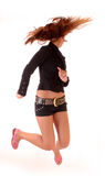 Beautiful woman  jumping with joy Royalty Free Stock Photos