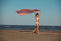 Beautiful woman jumping for joy desert beach Royalty Free Stock Image