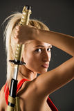 Beautiful Woman With Katana Royalty Free Stock Photography