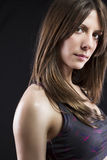 Sport young woman face of fitness girl studio shot over black ba Stock Photography