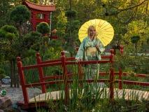 Beautiful woman in kimono Stock Images