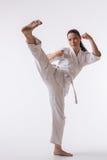 Beautiful woman in kimono on white Royalty Free Stock Image