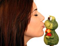 Beautiful Woman Kissing Frog Royalty Free Stock Image