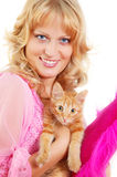 Beautiful woman with kitten Stock Image