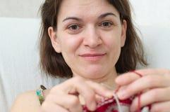 Beautiful woman  knitting Stock Photos