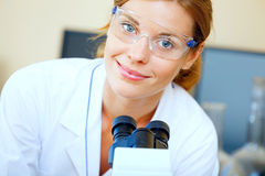 Beautiful woman in a laboratory Royalty Free Stock Photography