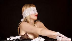 Beautiful woman with lace mask Royalty Free Stock Photo