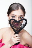 Beautiful woman with lacy heart Stock Photo