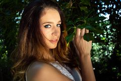 Beautiful woman, lady, with blue eyes and brown hair poses next to green leaves of tree Stock Photography