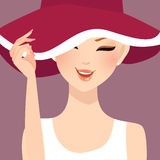 Beautiful woman lady female wearing hat smile illustration Royalty Free Stock Images