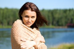 Beautiful woman at the lake Stock Photos