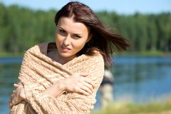 Beautiful woman at the lake Royalty Free Stock Photo