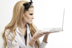 Beautiful woman with laptop Stock Photos
