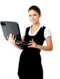 Beautiful woman with a laptop Royalty Free Stock Photography