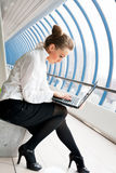 Beautiful woman with laptop stock image