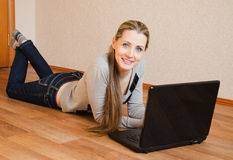 The beautiful  woman  with the laptop Royalty Free Stock Photo