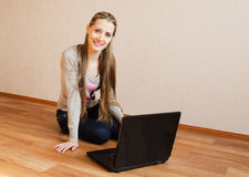 The beautiful  woman with the laptop Stock Photo