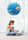 Beautiful woman with laptop, communication and connection concept Stock Photo