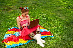 Beautiful woman with laptop on grass Stock Image