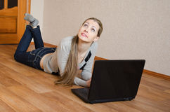 Beautiful woman  with the laptop Stock Photography