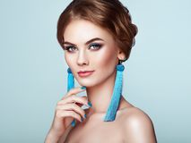 Beautiful Woman with Large Earrings Tassels stock photography