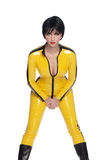Beautiful woman in latex jump suit Royalty Free Stock Image