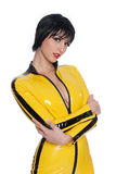 Beautiful woman in latex jump suit Stock Photo