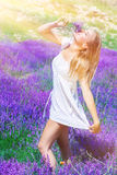 Beautiful woman on lavender field Royalty Free Stock Images