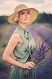 Beautiful woman in lavender field Royalty Free Stock Photo