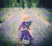 Beautiful woman in lavender field Stock Photos