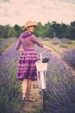 Beautiful woman in lavender field Royalty Free Stock Images